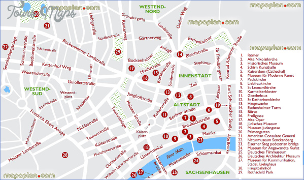 Frankfurt Map Tourist Attractions - ToursMaps.com ®