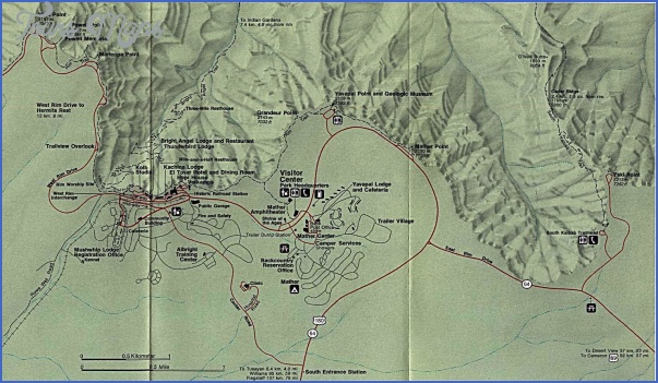 Grand Canyon Hiking Trails Map - ToursMaps.com ®