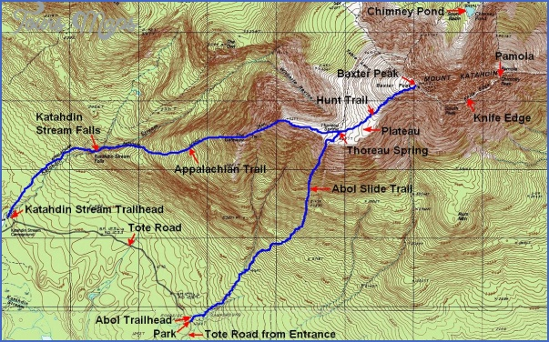 Katahdin Hiking Map - ToursMaps.com ®