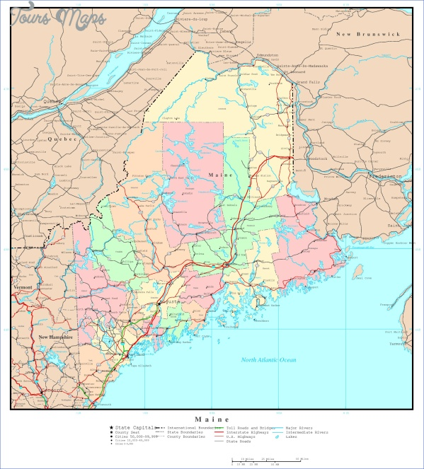 maine usa map geographical  12 Maine USA Map Geographical