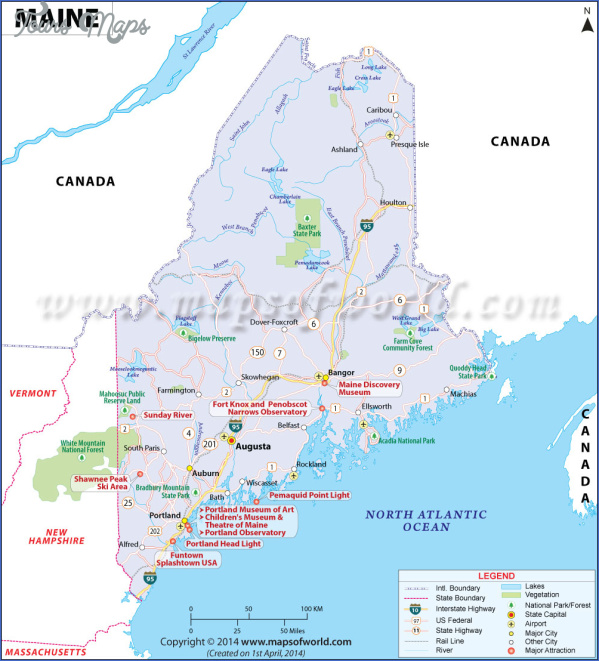 maine usa map geographical  3 Maine USA Map Geographical