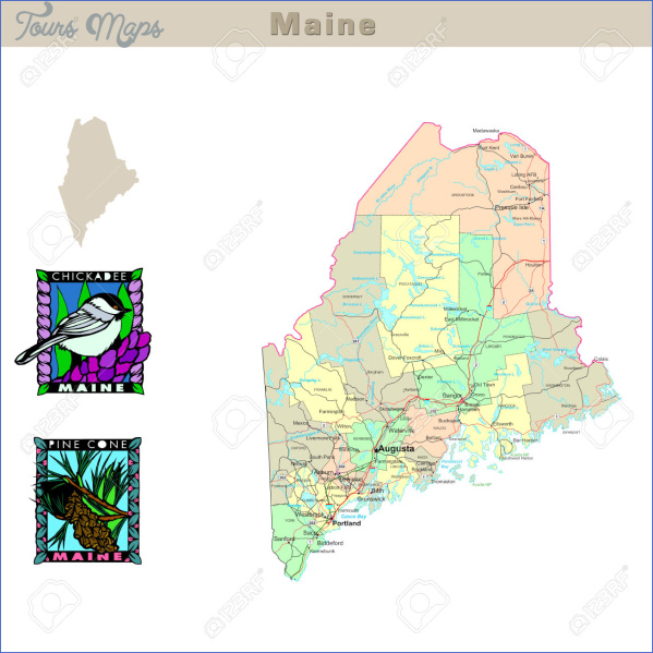 maine usa map geographical  8 Maine USA Map Geographical