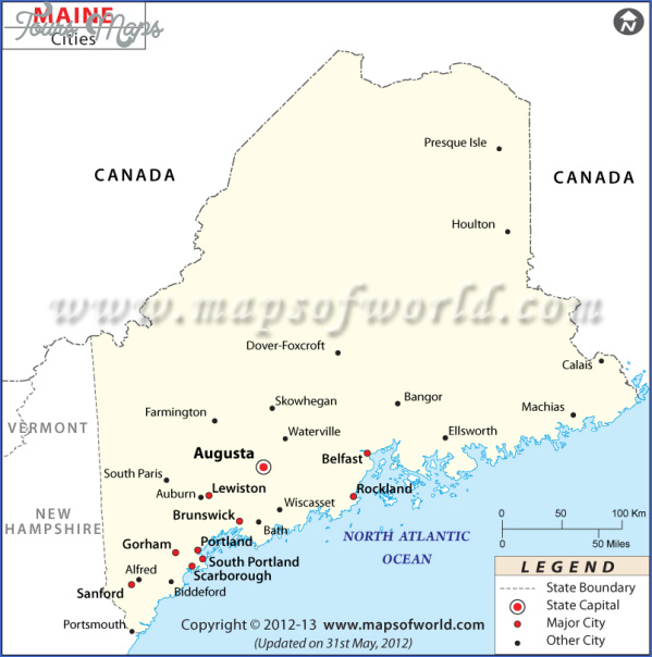 maine usa map images 10 Maine USA Map Images