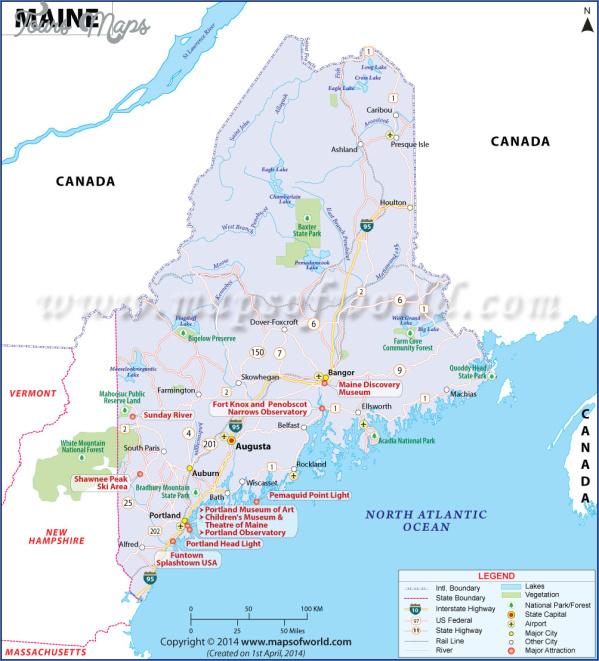 maine usa map main cities  1 Maine USA Map Main Cities