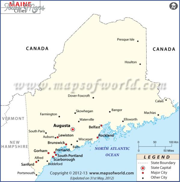 maine usa map main cities  3 Maine USA Map Main Cities