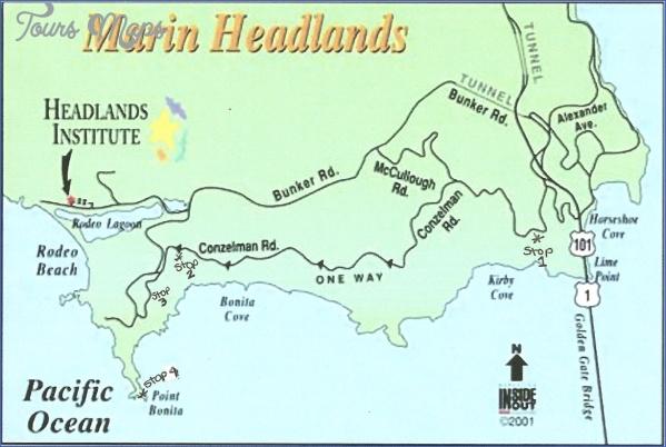 Marin Headlands Map MARIN HEADLANDS MAP SAN FRANCISCO   ToursMaps.®