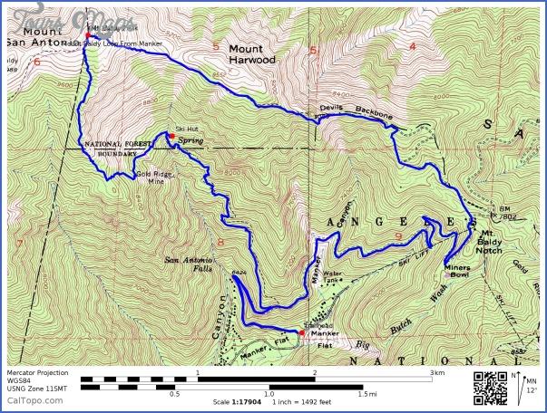 Mount Baldy Hiking Trail Map Toursmaps Com