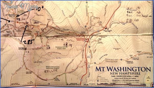 Jewell Trail Mt Washington Map.Mt Washington Hiking Trail Map Toursmaps Com
