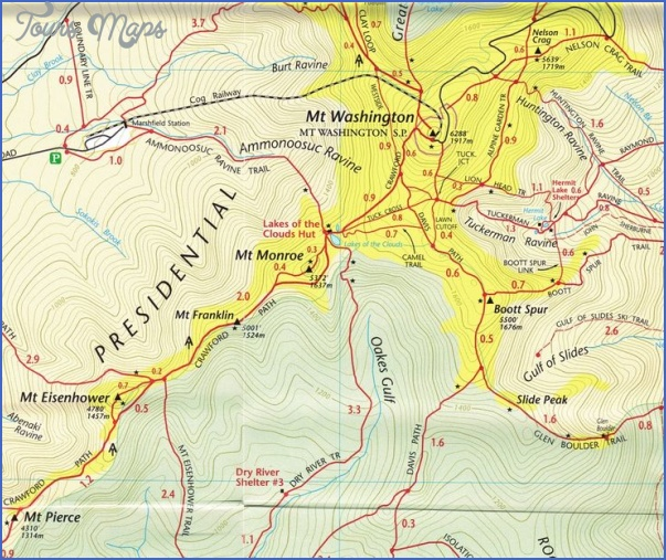 mt washington hiking trails map 13 Mt Washington Hiking Trails Map