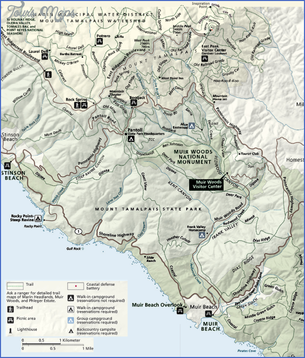 muir woods hiking trails map 7 Muir Woods Hiking Trails Map