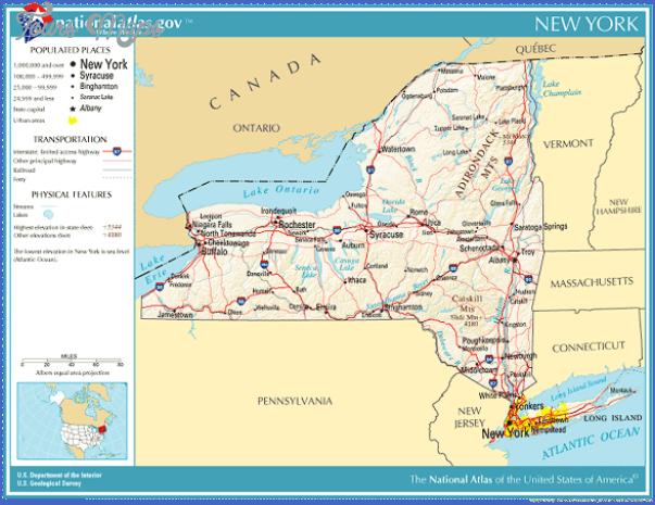 new york map geographical  5 New York Map Geographical