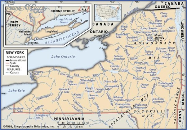 new york map geographical  7 New York Map Geographical