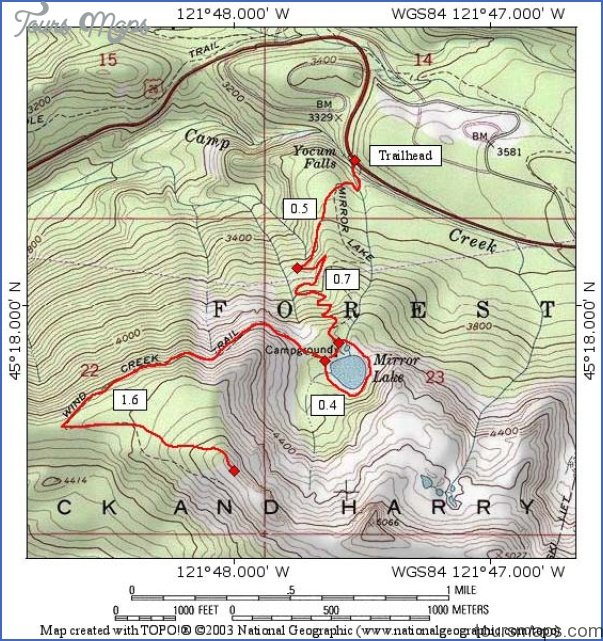 Oregon Hiking Trail Maps ToursMapscom - Oregon hiking trails map