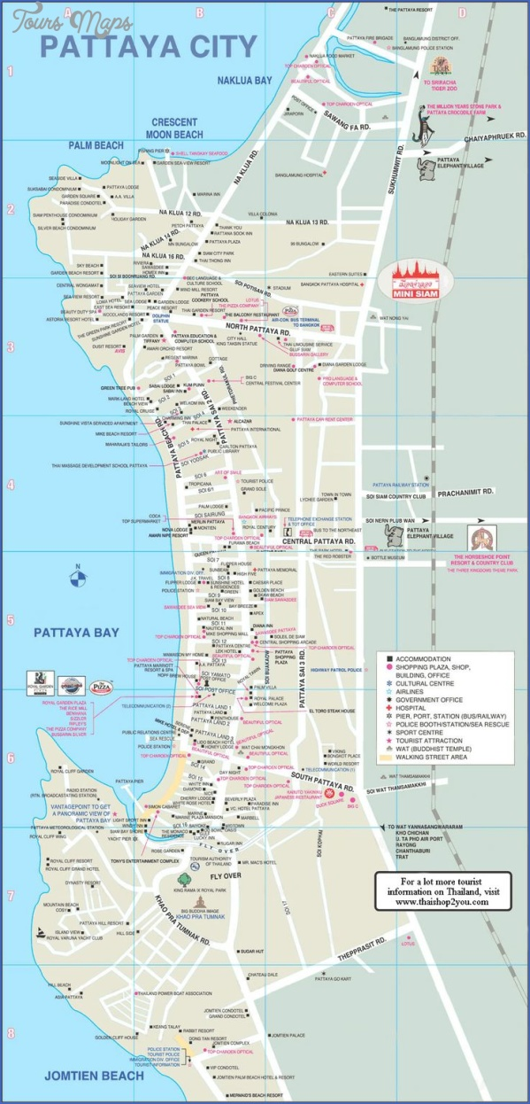 pattaya thailand map 6 Pattaya Thailand Map
