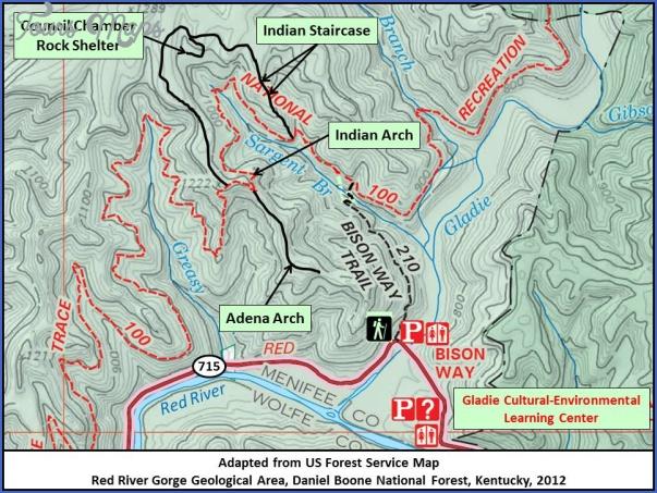 red river gorge hiking map 12 Red River Gorge Hiking Map