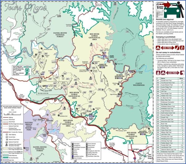 red river gorge hiking map 8 Red River Gorge Hiking Map