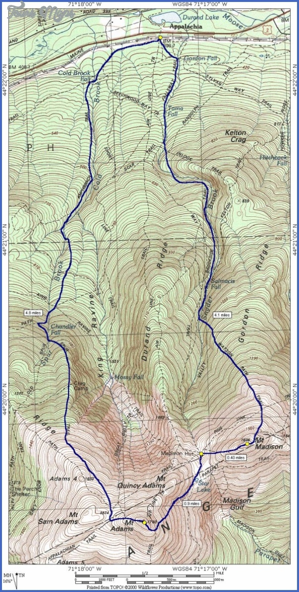 White Mountains Hiking Map - ToursMaps.com ®