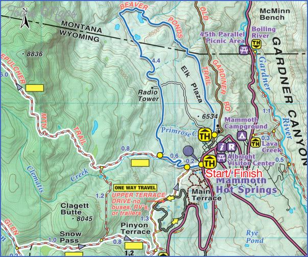 yellowstone hiking map 9 Yellowstone Hiking Map