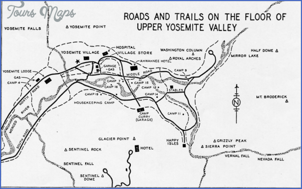 Yosemite Valley Hiking Map ToursMapscom