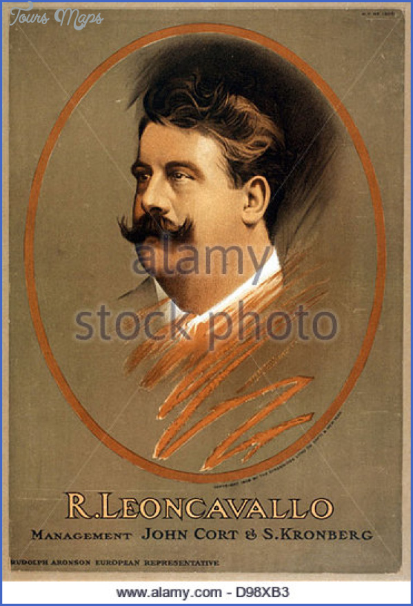 ruggiero leoncavallo 1858 1919 italian opera composer c1906 lithograph d98xb3 LEONCAVALLO MUSEUM
