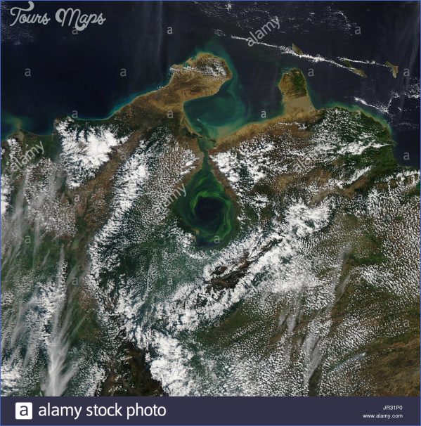 lake maracaibo venezuela with swirls of green plant life captured jr31p0 LAKE MARACAIBO BRIDGE MAP