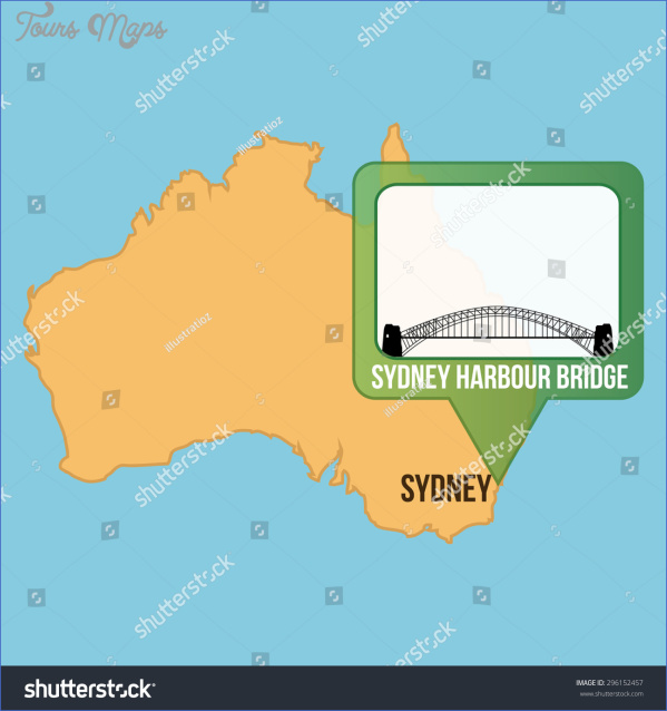 stock vector isolated map of australia with the sydney harbour bridge vector illustration 296152457 SYDNEY HARBOUR BRIDGE MAP