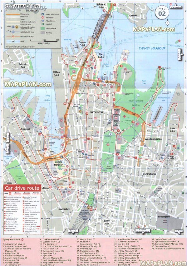 sydney top tourist attractions map 05 free car driving directions route to explore most famous downtown hotspots harbour bridge high resolution SYDNEY HARBOUR BRIDGE MAP
