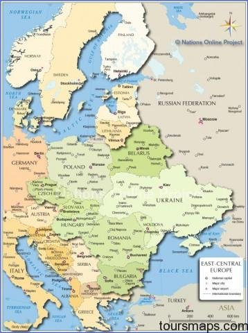 central eastern europe map Map of Eastern Europe