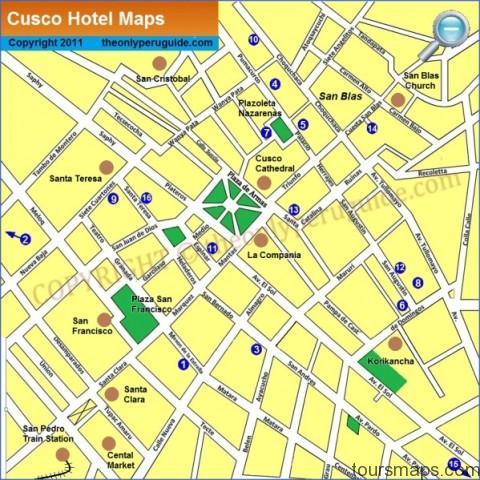 cusco hotels map large Map of Cusco Peru
