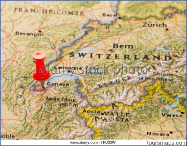 geneva switzerland pinned on a map of europe h4j22w Map of SWITZERLAND Geneva