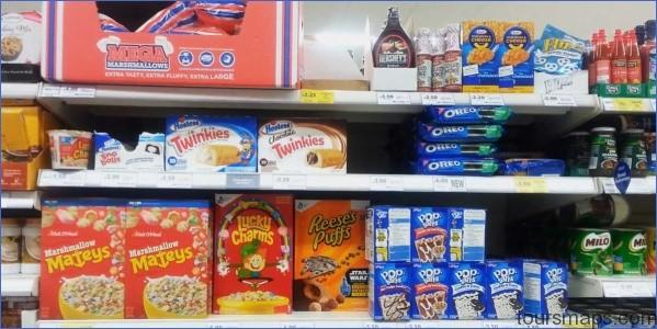 heres whats in the american food section of a british grocery store UK vs USA Grocery Stores