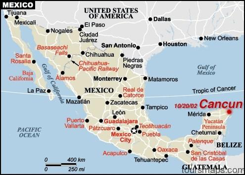 Map of Cancun Mexico - ToursMaps.com ® Cancun Mexico Hotel Map on