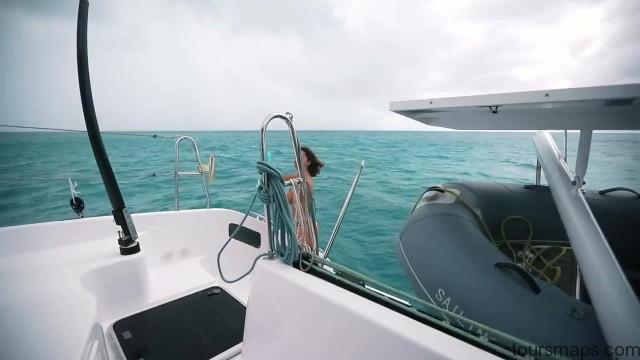 sailing a catamaran in the caribbean with slv 32