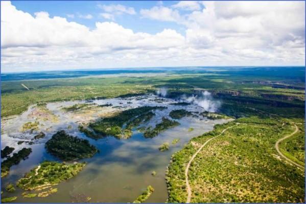 zimbabweaerialviewofthezambeziriverrightbeforevictoriafalls Africa Safaris, and travel   Botswana Zimbabwe Zambia