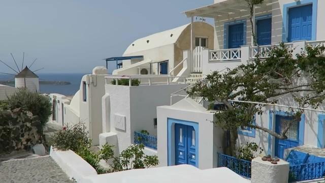blue doors in oia santorini 12 How to Travel in Santorini