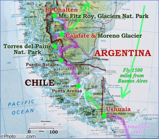 05arg 00005 map patagonia route Map of Patagonia