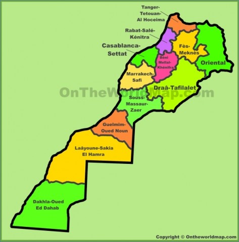 administrative divisions map of morocco Map of Morocco