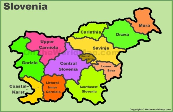 administrative divisions map of slovenia Map of Slovenia
