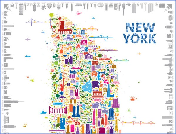 alfalfa studio iconic new york map lcrop Map of New York