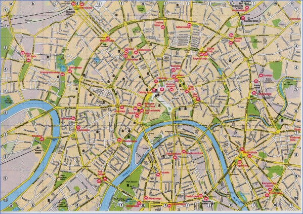 detailed road map of moscow city center Map of Moscow