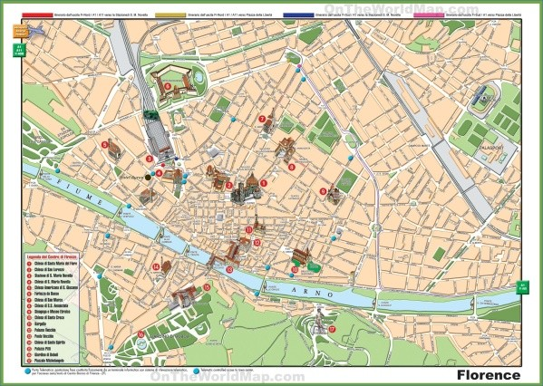 florence sightseeing map Map of Florence