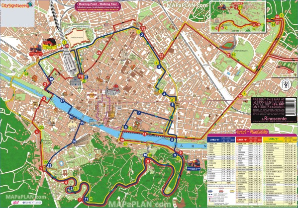 florence top tourist attractions map 04 city sightseeing hop on hop off double decker open top coach bus tour basilica di santa croce high resolution Map of Florence