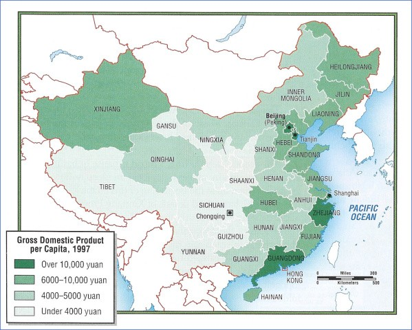 gdp 97 Map of CHINA