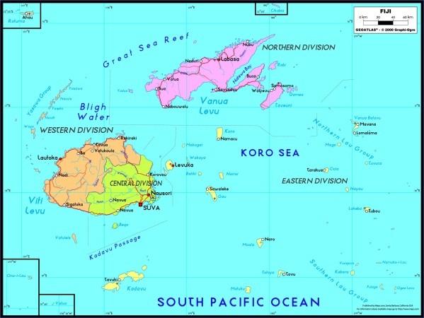graphi ogre fiji political wall map Fiji Map