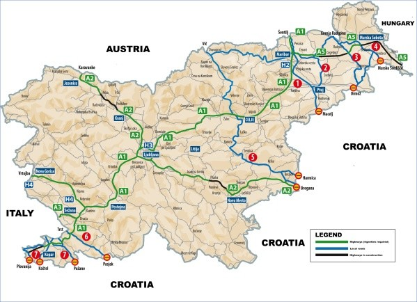large map of international corridors highways and local roads of slovenia Map of Slovenia