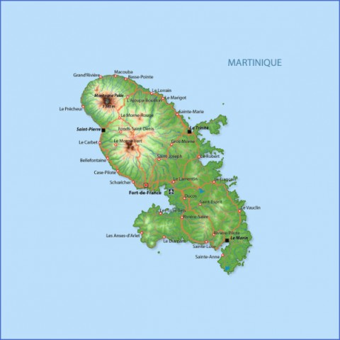 large detailed road and physical map of martinique Map of MARTINIQUE