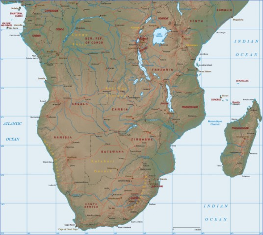 map southern africa Map of South Africa
