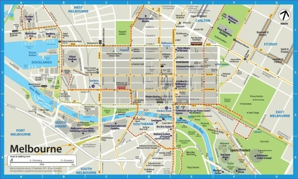 melbourne map cbd large city at maps Map of Melbourne