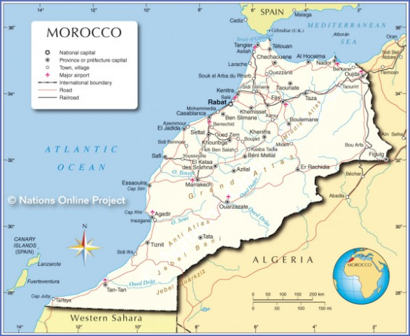 morocco political map Map of Morocco