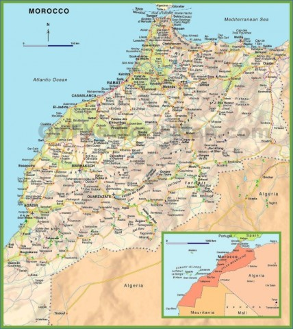 morocco road map Map of Morocco